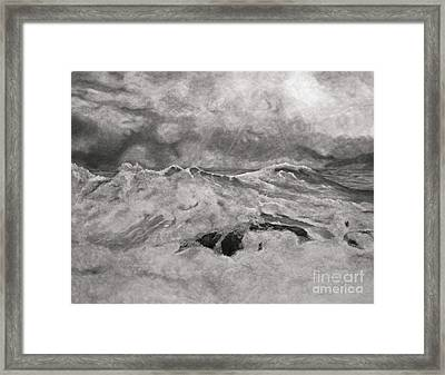 Framed Print featuring the drawing Seascape In Graphite by John Stuart Webbstock