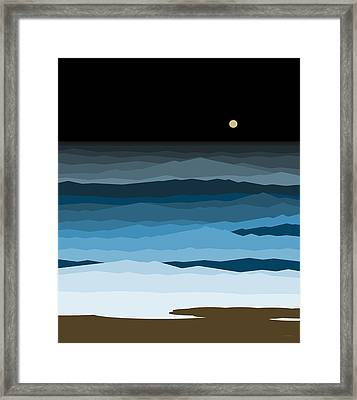 Seascape - Night Framed Print by Val Arie