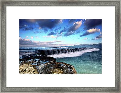 Seascape Paintings For Sale - Falling Oceans Framed Print by Frances Leigh