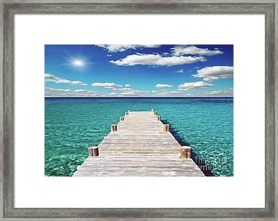Seascape Sunrise Treasure Coast Florida Pier C6 Framed Print