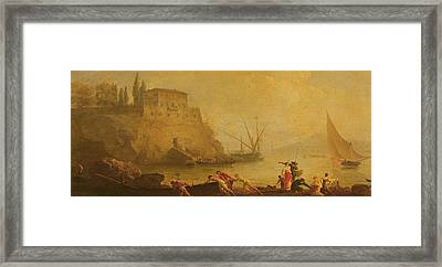 Seascape, Sunset  Fishermen Pushing Out A Boat  Framed Print
