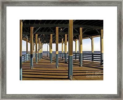 Seascape Walk On The Pier Framed Print by Carol F Austin