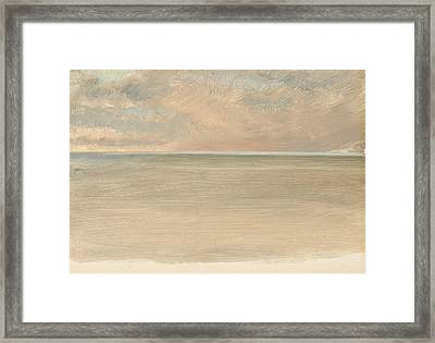 Seascape With Icecap In The Distance Framed Print