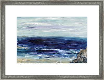 Seascape With White Cats Framed Print