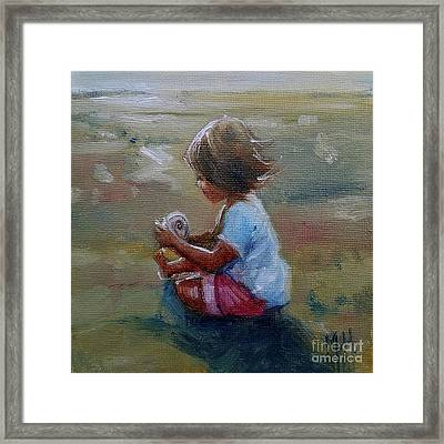 Seashell Contemplation Little Girl Beach Shell Framed Print