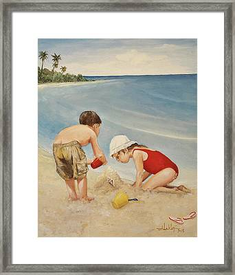 Seashell Sand And A Solo Cup Framed Print