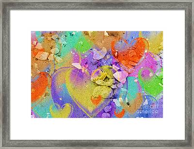 Seashell Stones And Hearts Framed Print by Kathleen Struckle