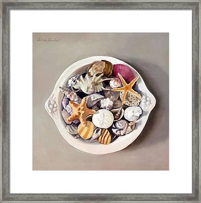 Seashells Framed Print by Linda Tenukas