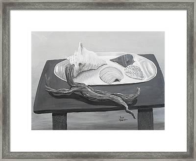 Seashells On Table Framed Print