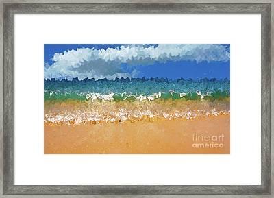 Seashore Abstract By Kaye Menner Framed Print by Kaye Menner