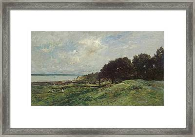 Seashore At Villerville Framed Print by Charles-Francois Daubigny