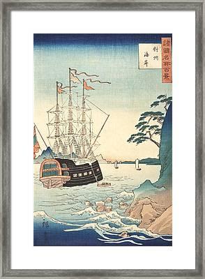 Seashore In Taishu Framed Print by Hiroshige