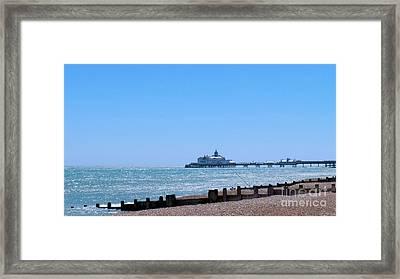 Seaside And Pier Framed Print