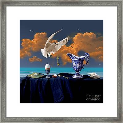 Framed Print featuring the digital art Seaside Breakfast by Alexa Szlavics