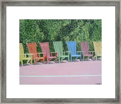 Seaside Chairs Framed Print by John Terry
