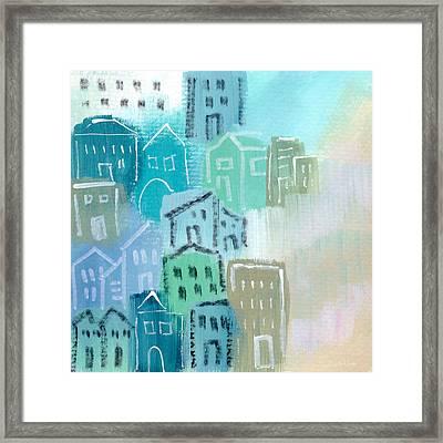 Seaside City- Art By Linda Woods Framed Print by Linda Woods