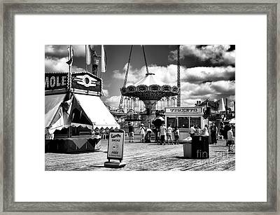 Seaside Heights Casino Pier Mono Framed Print by John Rizzuto