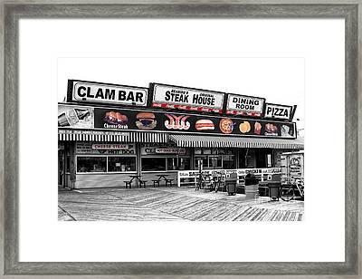 Seaside Heights Clam Bar Fusion Framed Print by John Rizzuto