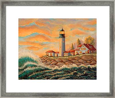 Seaside Lighthouse Framed Print by Mary Charles