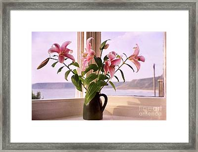 Seaside Lilies Framed Print by Terri Waters