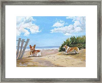 Seaside Romp Framed Print by Ann Becker