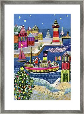 Seaside Santa Framed Print