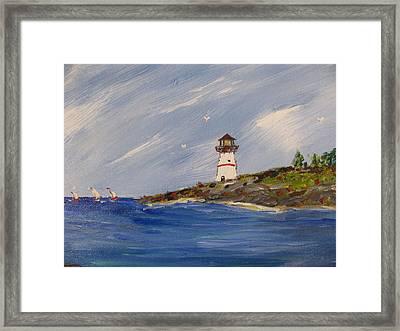 Seaside Sentinel Framed Print by Dennis Poyant