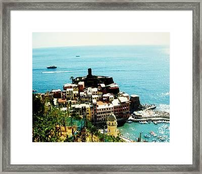 Seaside Village In Europe Framed Print by Marsha Heiken