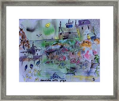 Seaside With Pigs Framed Print by Gordon Bell