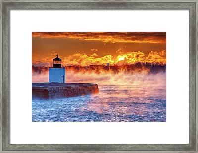 Seasmoke At Salem Lighthouse Framed Print