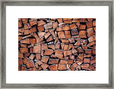 Seasoned Firewood Stacking Pattern Framed Print