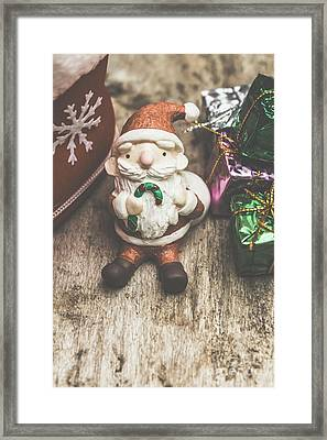 Seasons Greeting Santa Framed Print