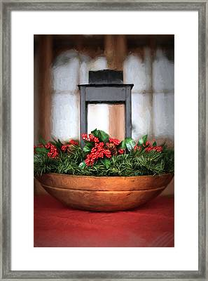 Framed Print featuring the photograph Seasons Greetings Christmas Centerpiece by Shelley Neff