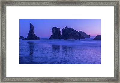 Seastack Sunset In Bandon Framed Print
