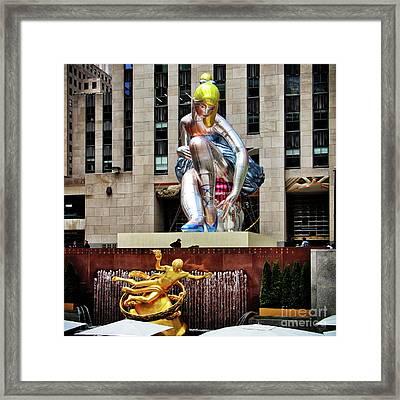 Seated Ballerina Rockefeller Plaza 2 Framed Print by Nishanth Gopinathan