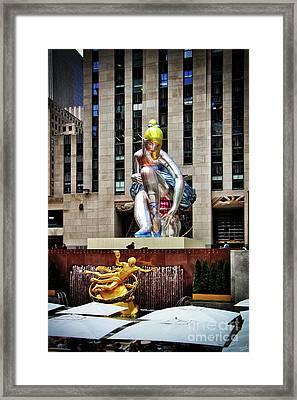 Seated Ballerina Rockefeller Plaza 3 Framed Print by Nishanth Gopinathan