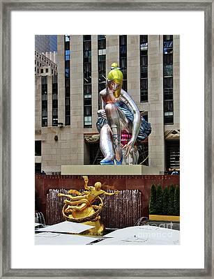 Seated Ballerina Rockefeller Plaza Framed Print by Nishanth Gopinathan
