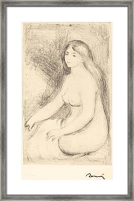 Seated Bather - Baigneuse Assise Framed Print by Auguste Renoir