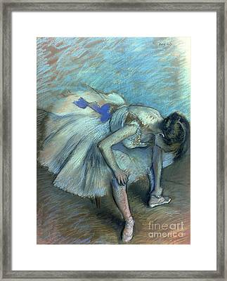 Seated Dancer Framed Print by Edgar Degas