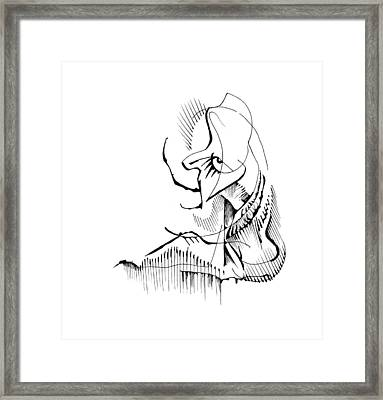 Framed Print featuring the drawing Seated Ennui by Keith A Link