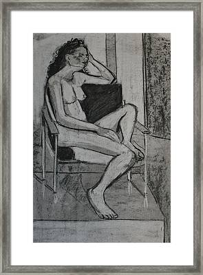 Seated Female Framed Print by Joanne Claxton