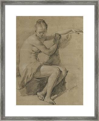 Seated Female Nude Framed Print by Adriaen van de Velde