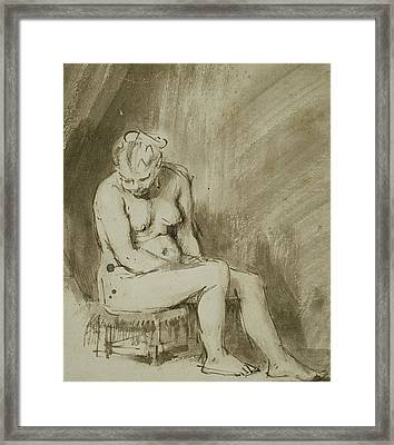 Seated Female Nude Framed Print by Rembrandt