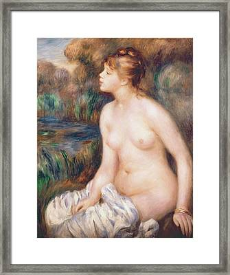 Seated Female Nude Framed Print by Renoir