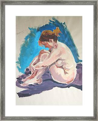Seated Female Nude Wrapping Arms Round Legs Framed Print by Mike Jory