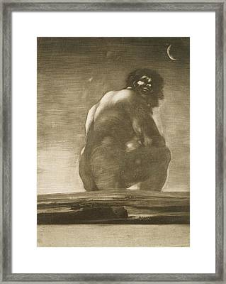 Seated Giant Framed Print by Francisco Goya