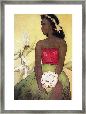 Seated Hula Dancer Framed Print by Hawaiian Legacy Archives - Printscapes