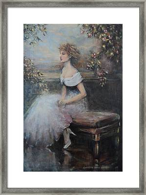 Seated Lady And Flowers Framed Print by Caroline Anne Du Toit