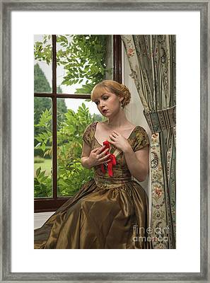 Seated Lady With Love Letters Framed Print by Amanda Elwell