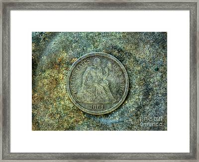 Framed Print featuring the digital art Seated Libery Dime Coin Obverse by Randy Steele
